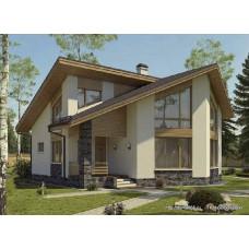 Проект одноэтажного дома с мансардой 163 м2 Дом-№191