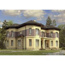 Проект двухэтажного дома 300 м2 Дом-№79 с террасами и балконом
