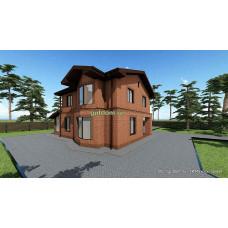 Готовый проект двухэтажного дома 171 м2 с подвалом 87 м2 АСП-№18-7 из кирпича и из бруса