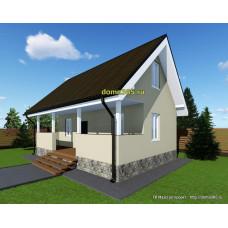Готовый проект каркасного дома 64 м2 АСП-№54