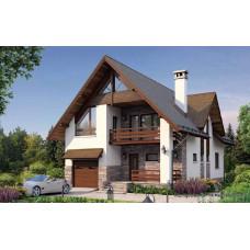 Проект дома с гаражом 172 м2 Дом-№115 для узкого участка