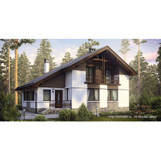 Проект одноэтажного дома с мансардой 140 м2 Дом-№131